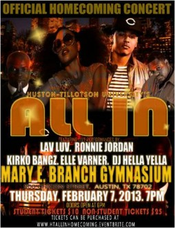 """All In"" Homecoming 2013 Concert Flyer"