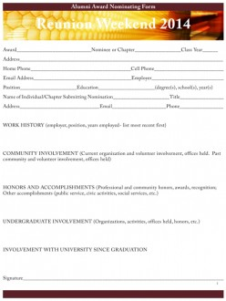Reunion Weekend Nominating Packet