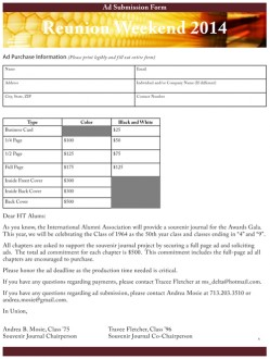 Reunion Weekend Ad Form