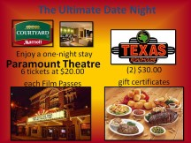 one night complimentary weekend stay, six $20 film pass tickets and two $30 gift certificate
