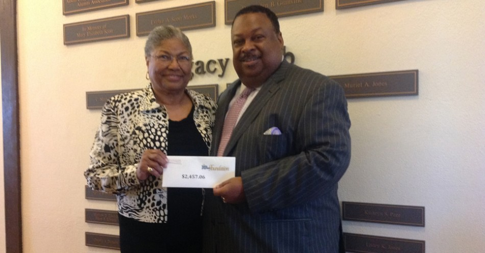 Jeffrey Archer Presents Tom Joyner Foundation Donation to Earvin
