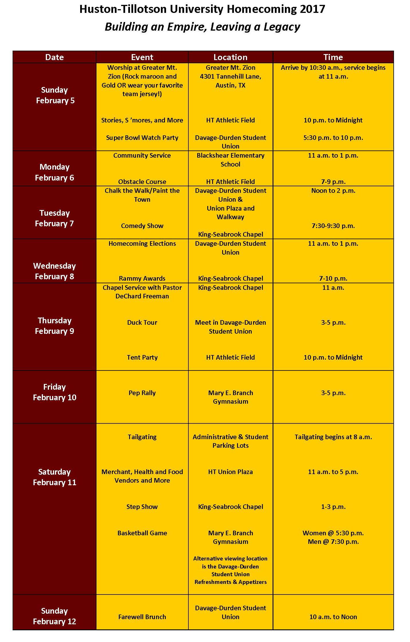 Homecoming 2017 Schedule