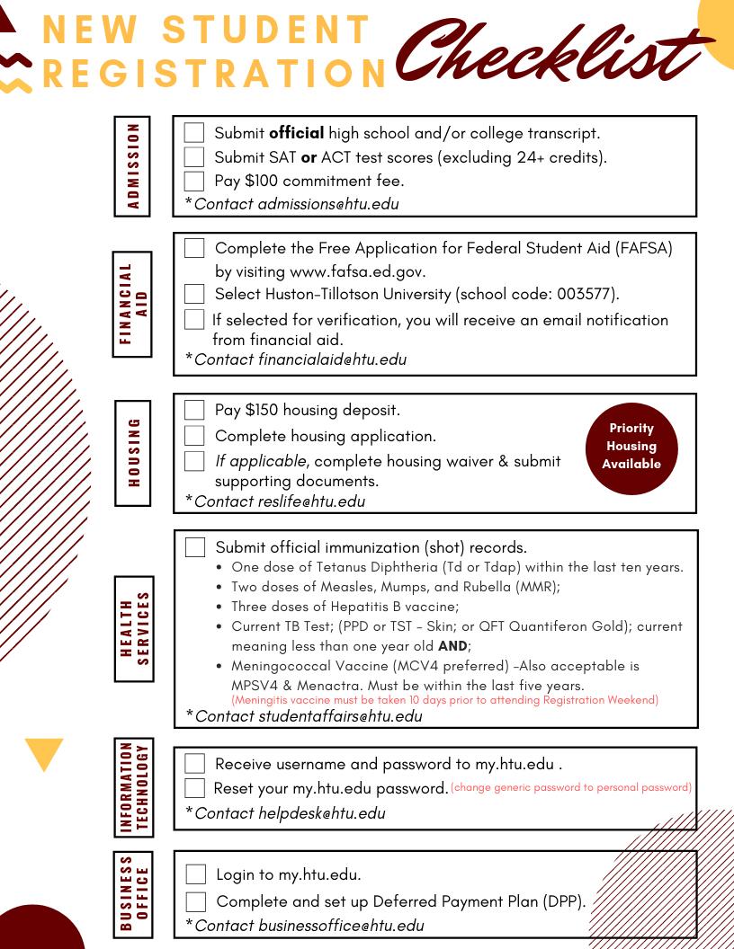 New Student Weekend Checklist