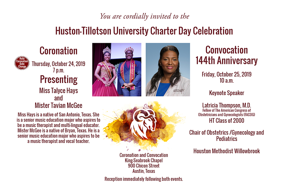 Huston-Tillotson University Charter Day Invitation