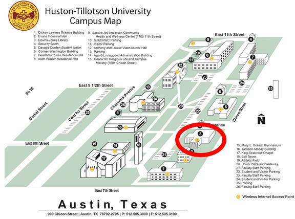 Campus map with the library circled