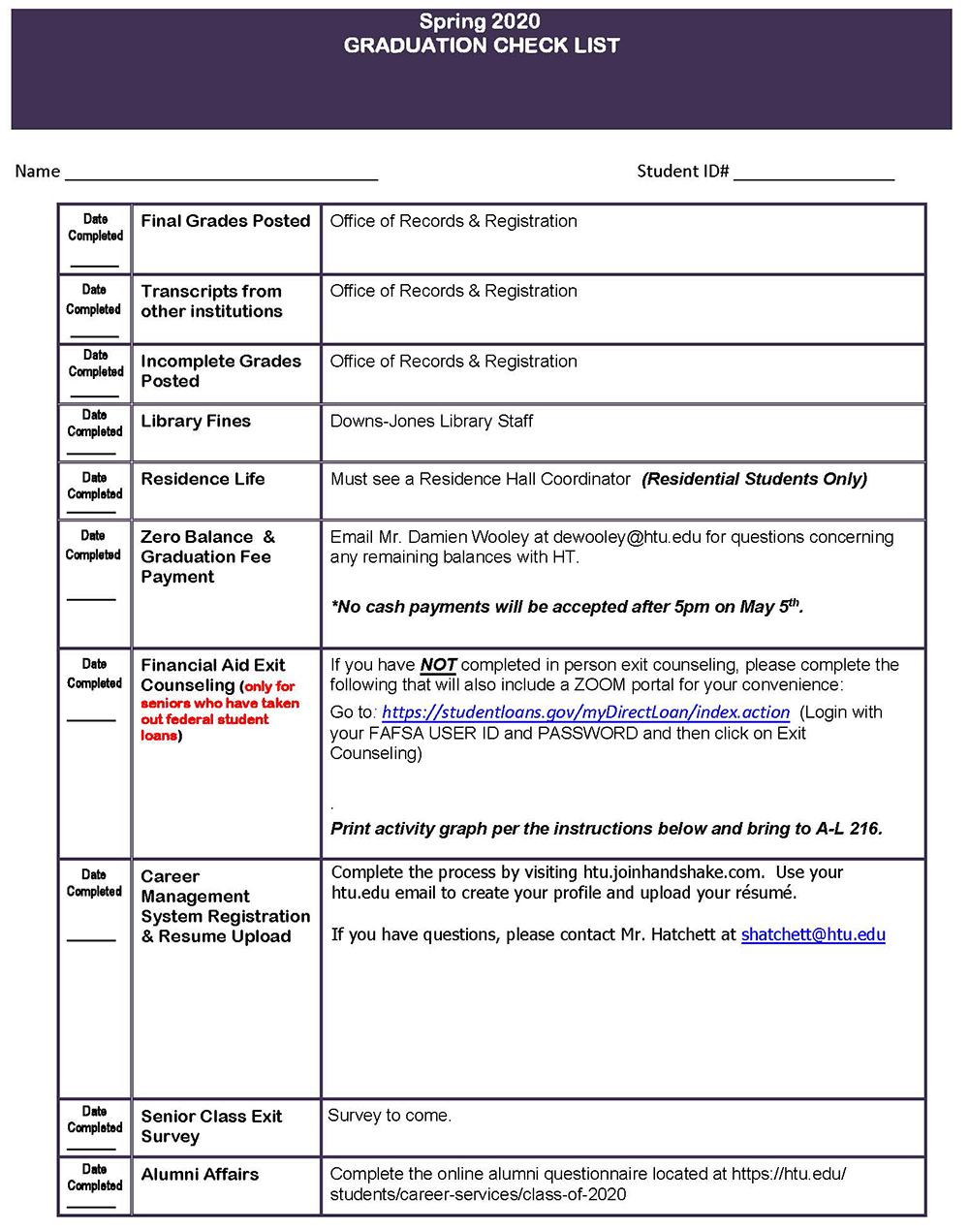 Class of 2020 Checklist