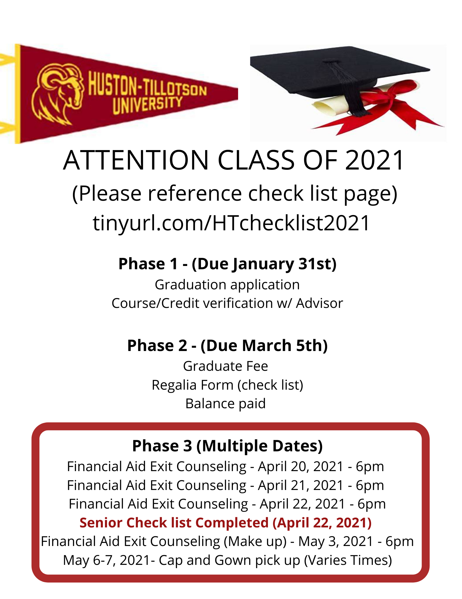 Class of 2021 Deadlines